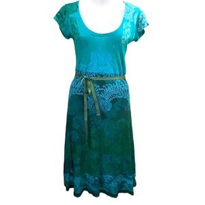 Desigual green, blue dress. cap sleeves,